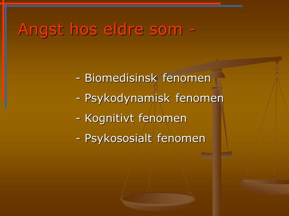 Angst hos eldre som - - Biomedisinsk fenomen - Biomedisinsk fenomen - Psykodynamisk fenomen - Kognitivt fenomen - Psykososialt fenomen