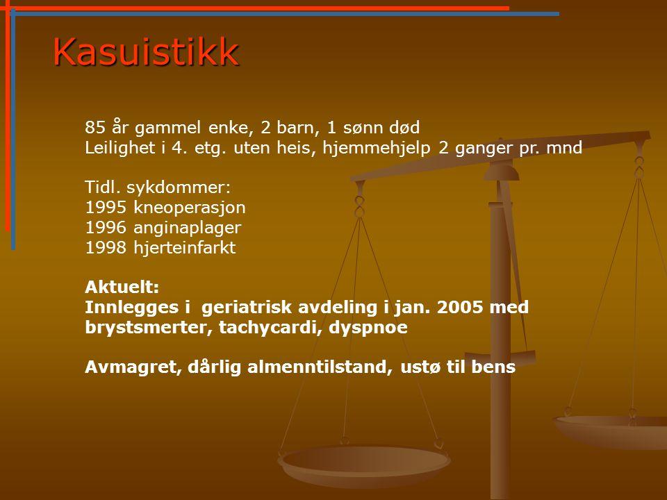 Kasuistikk 85 år gammel enke, 2 barn, 1 sønn død Leilighet i 4.