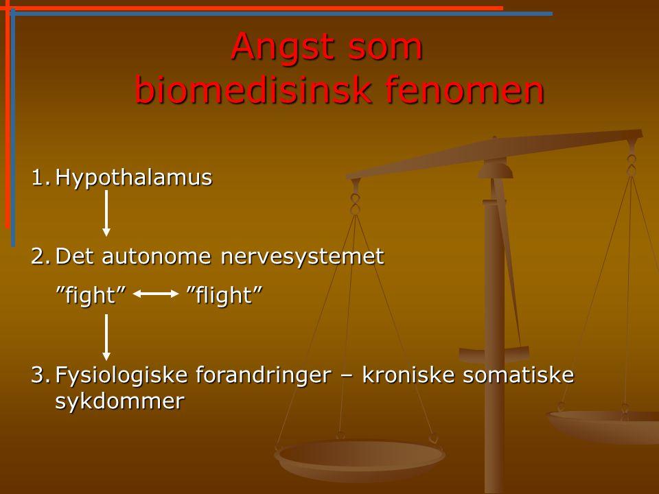 Angst som biomedisinsk fenomen 1.Hypothalamus 2.Det autonome nervesystemet fight flight 3.Fysiologiske forandringer – kroniske somatiske sykdommer
