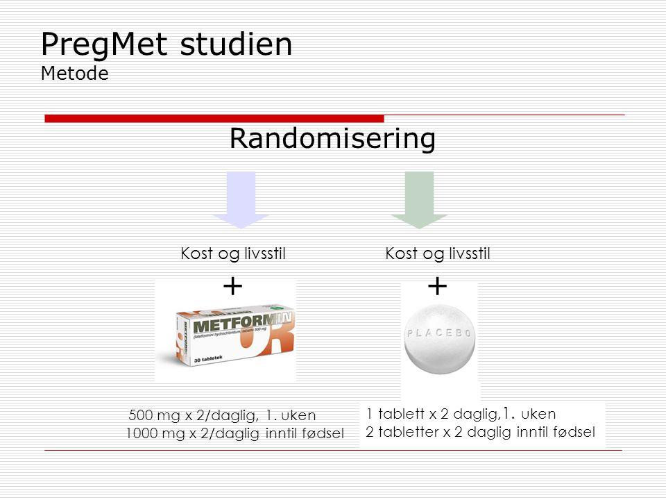 PregMet studien Metode Randomisering 500 mg x 2/daglig, 1. uken 1000 mg x 2/daglig inntil fødsel 1 tablett x 2 daglig, 1. uken 2 tabletter x 2 daglig