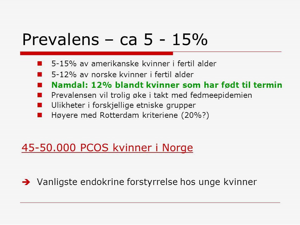 Prevalens – ca 5 - 15%  5-15% av amerikanske kvinner i fertil alder  5-12% av norske kvinner i fertil alder  Namdal: 12% blandt kvinner som har fød