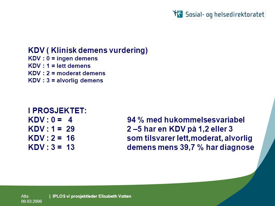 Alta 09.03.2006 | IPLOS v/ prosjektleder Elisabeth Vatten KDV ( Klinisk demens vurdering) KDV : 0 = ingen demens KDV : 1 = lett demens KDV : 2 = moder