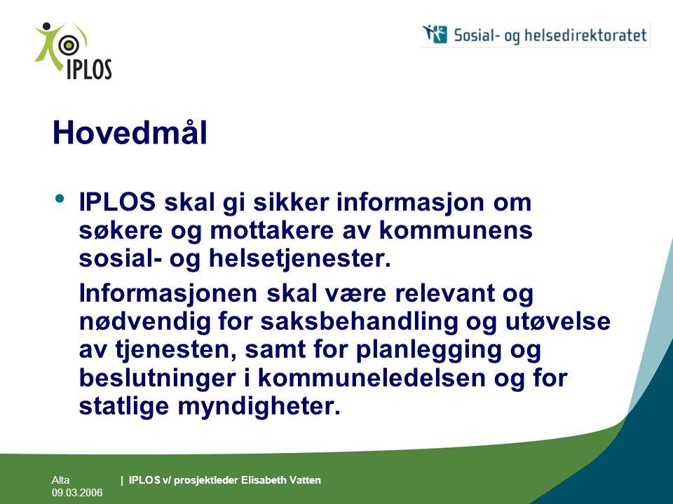 Alta 09.03.2006 | IPLOS v/ prosjektleder Elisabeth Vatten Hovedmål • IPLOS skal gi sikker informasjon om søkere og mottakere av kommunens sosial- og h