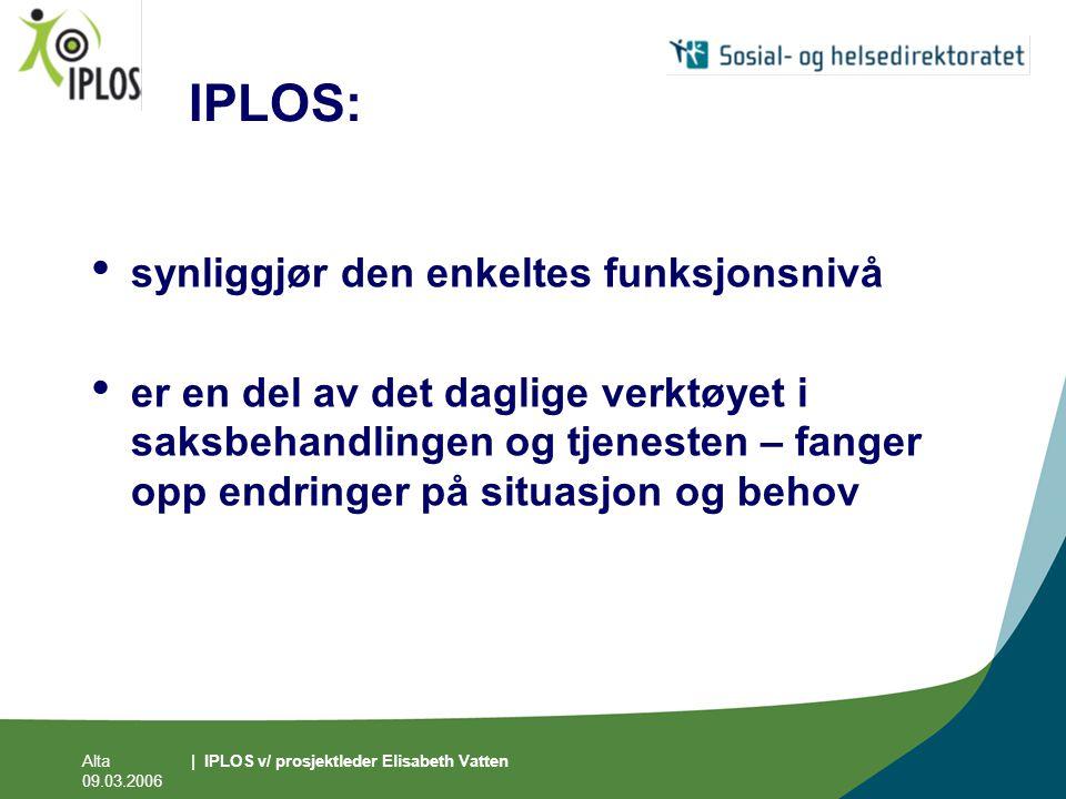 Alta 09.03.2006 | IPLOS v/ prosjektleder Elisabeth Vatten IPLOS: • synliggjør den enkeltes funksjonsnivå • er en del av det daglige verktøyet i saksbe
