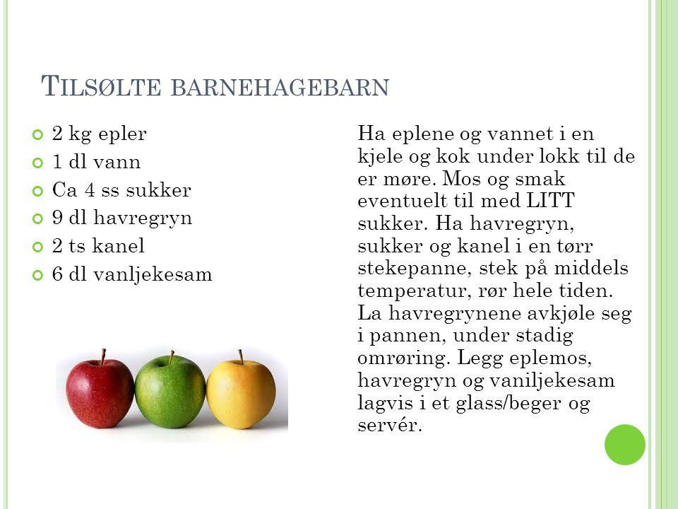 T ILSØLTE BARNEHAGEBARN 2 kg epler 1 dl vann Ca 4 ss sukker 9 dl havregryn 2 ts kanel 6 dl vanljekesam Ha eplene og vannet i en kjele og kok under lok