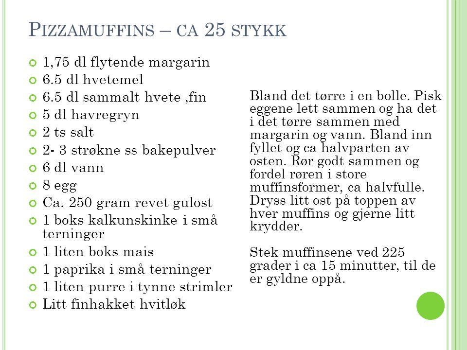 P IZZAMUFFINS – CA 25 STYKK 1,75 dl flytende margarin 6.5 dl hvetemel 6.5 dl sammalt hvete,fin 5 dl havregryn 2 ts salt 2- 3 strøkne ss bakepulver 6 d
