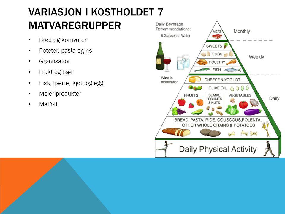 VARIASJON I KOSTHOLDET 7 MATVAREGRUPPER • Brød og kornvarer • Poteter, pasta og ris • Grønnsaker • Frukt og bær • Fisk, fjærfe, kjøtt og egg • Meierip