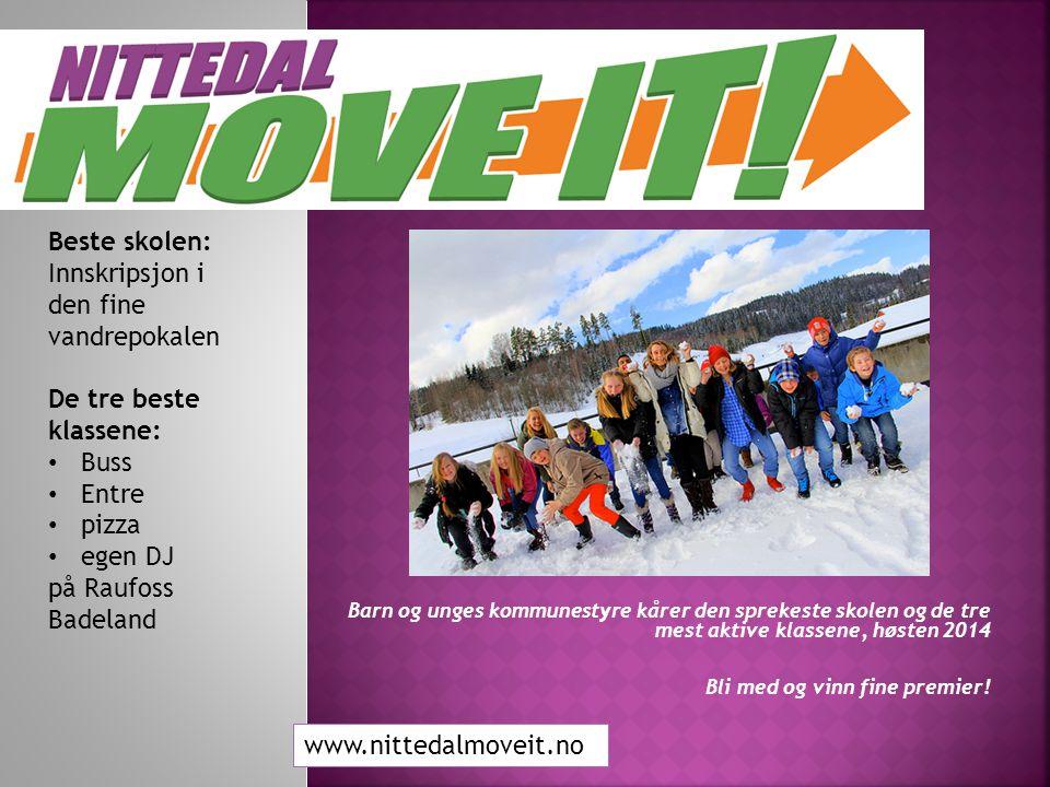 Mål: «ALLE i bedre form» Aktivitet = Mye moro og lite mobbing Godt kosthold = God læring www.nittedalmoveit.no
