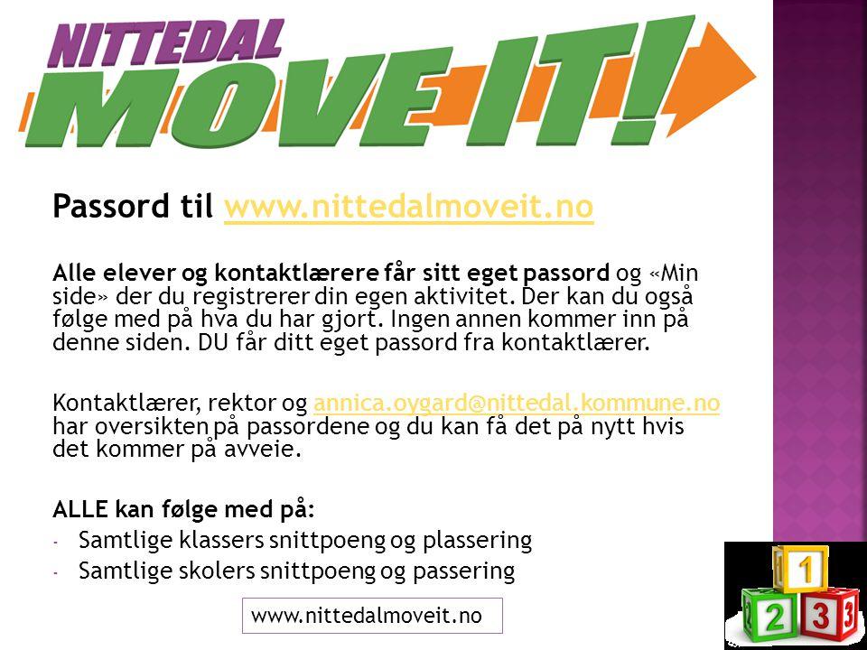 Passord til www.nittedalmoveit.nowww.nittedalmoveit.no Alle elever og kontaktlærere får sitt eget passord og «Min side» der du registrerer din egen aktivitet.