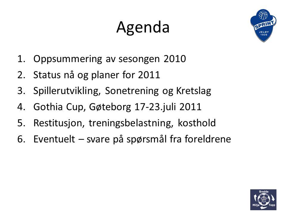 Agenda 1.Oppsummering av sesongen 2010 2.Status nå og planer for 2011 3.Spillerutvikling, Sonetrening og Kretslag 4.Gothia Cup, Gøteborg 17-23.juli 2011 5.Restitusjon, treningsbelastning, kosthold 6.Eventuelt – svare på spørsmål fra foreldrene