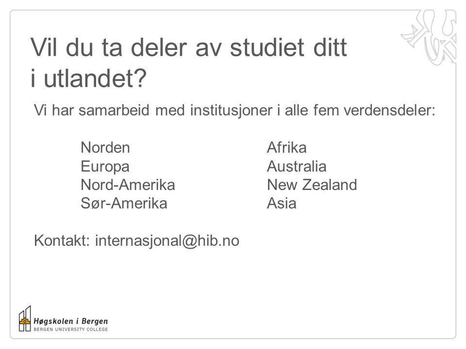 Vil du ta deler av studiet ditt i utlandet.