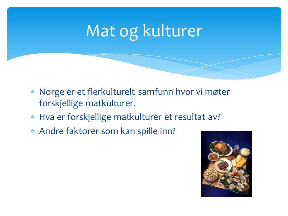  Norge er et flerkulturelt samfunn hvor vi møter forskjellige matkulturer.  Hva er forskjellige matkulturer et resultat av?  Andre faktorer som kan
