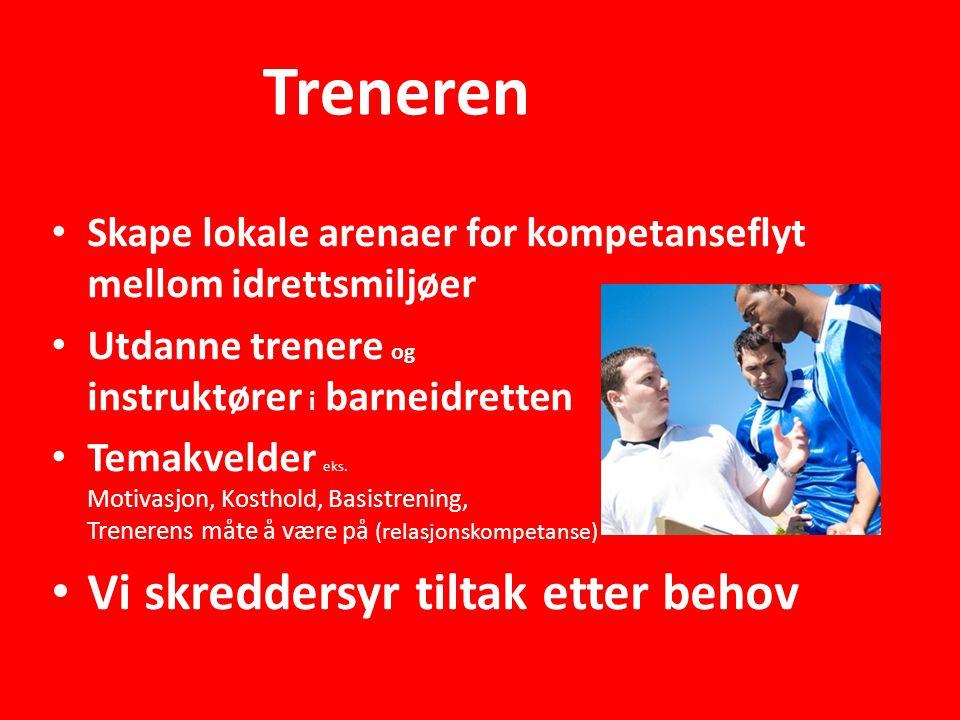 Treneren • Skape lokale arenaer for kompetanseflyt mellom idrettsmiljøer • Utdanne trenere og instruktører i barneidretten • Temakvelder eks.