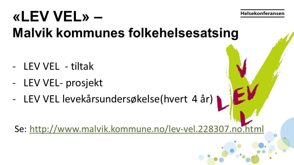 «LEV VEL» – Malvik kommunes folkehelsesatsing -LEV VEL - tiltak -LEV VEL- prosjekt -LEV VEL levekårsundersøkelse(hvert 4 år) Se: http://www.malvik.kom