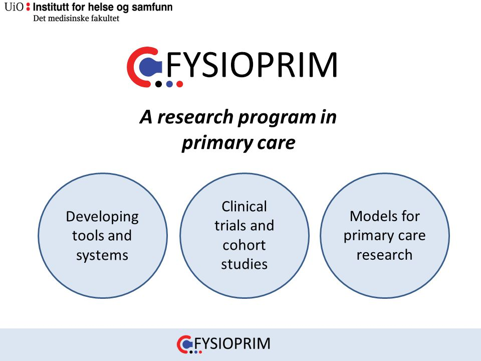 A research program in primary care Developing tools and systems Clinical trials and cohort studies Models for primary care research