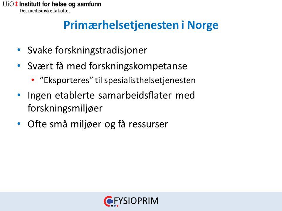 """Primærhelsetjenesten i Norge • Svake forskningstradisjoner • Svært få med forskningskompetanse • """"Eksporteres"""" til spesialisthelsetjenesten • Ingen et"""