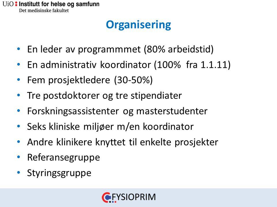 Organisering • En leder av programmmet (80% arbeidstid) • En administrativ koordinator (100% fra 1.1.11) • Fem prosjektledere (30-50%) • Tre postdokto