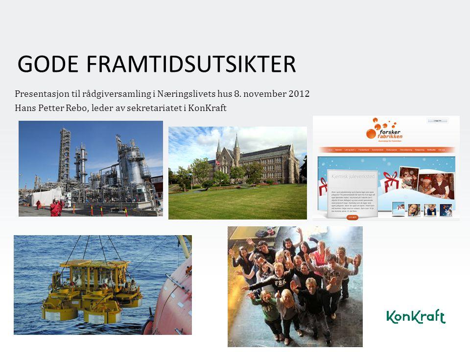 GODE FRAMTIDSUTSIKTER Presentasjon til rådgiversamling i Næringslivets hus 8. november 2012 Hans Petter Rebo, leder av sekretariatet i KonKraft