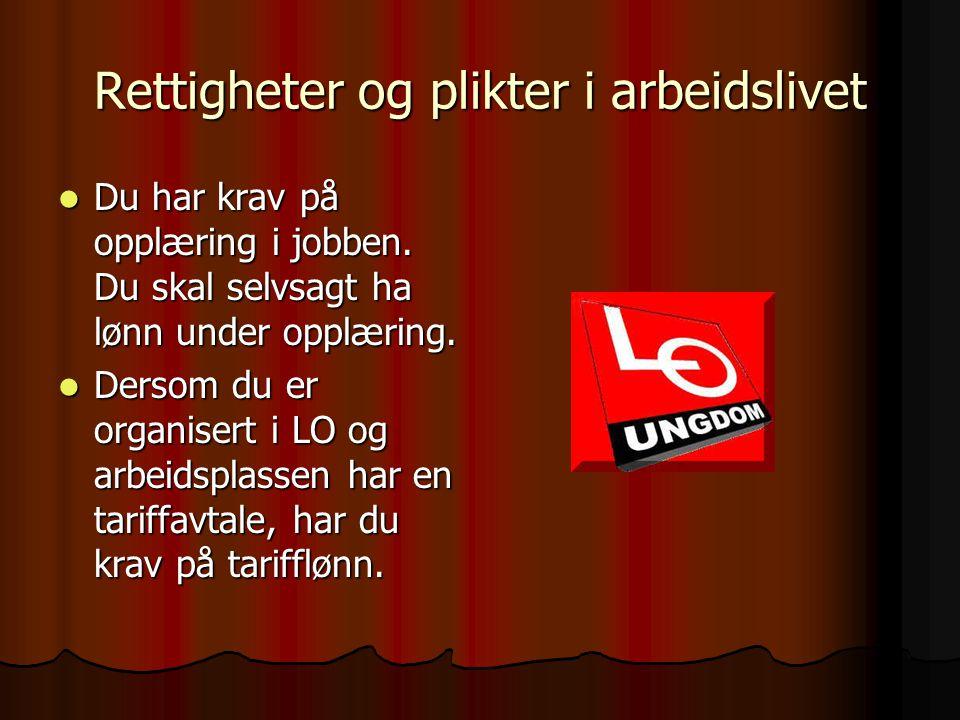 Rettigheter og plikter i arbeidslivet DDDDu har krav på å få lønnsslipp ved lønnsutbetaling.