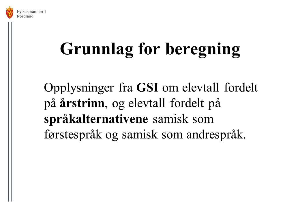 Grunnlag for beregning Opplysninger fra GSI om elevtall fordelt på årstrinn, og elevtall fordelt på språkalternativene samisk som førstespråk og samis