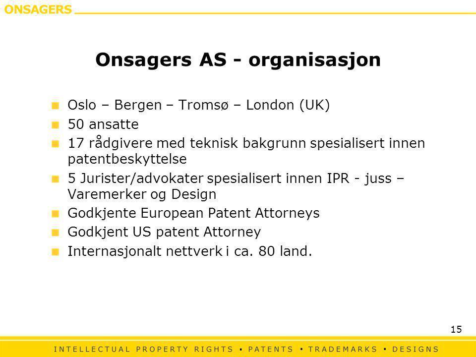 15 Onsagers AS - organisasjon Oslo – Bergen – Tromsø – London (UK) 50 ansatte 17 rådgivere med teknisk bakgrunn spesialisert innen patentbeskyttelse 5