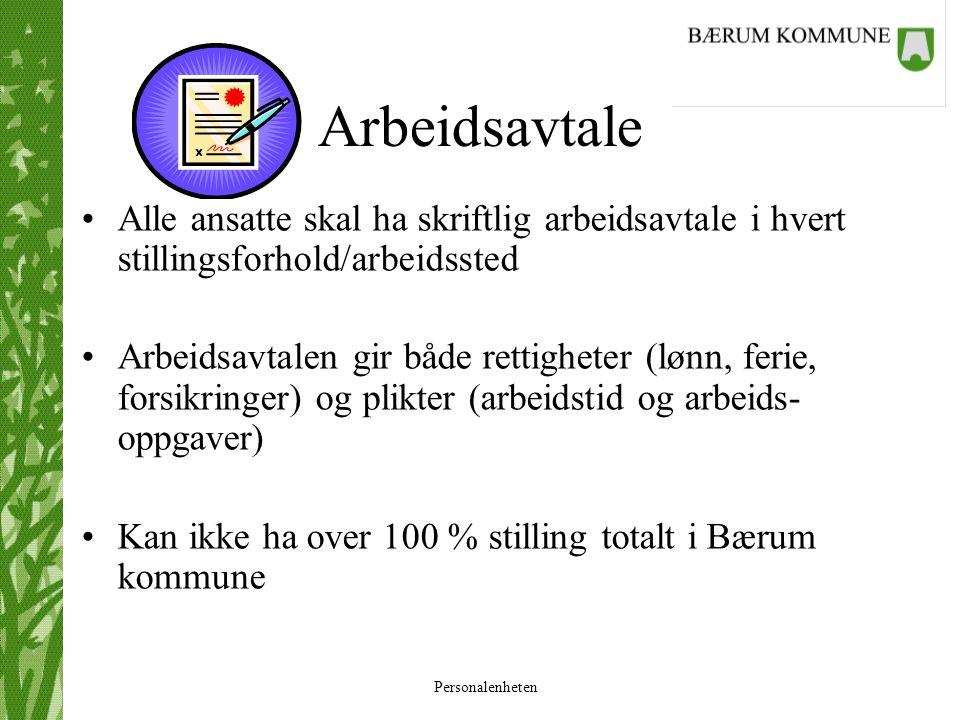Personalenheten Ansattes plikter •Ansatte skal overholde fastsatt/avtalt arbeidstid •Bærum kommunes arbeidsreglement skal overholdes •Ansatte skal utføre sine arbeidsoppgaver i henhold til avtale/stillingsinnhold •Brudd på arbeidsavtale kan føre til advarsel eller i alvorlige tilfeller oppsigelse/avskjed