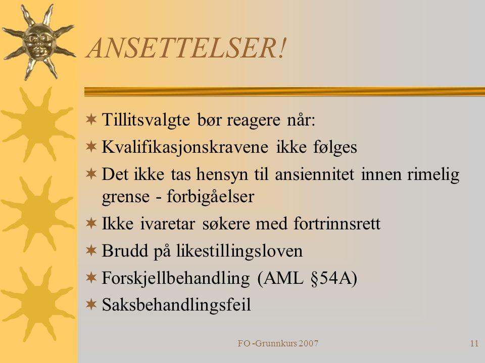 FO -Grunnkurs 200711 ANSETTELSER.
