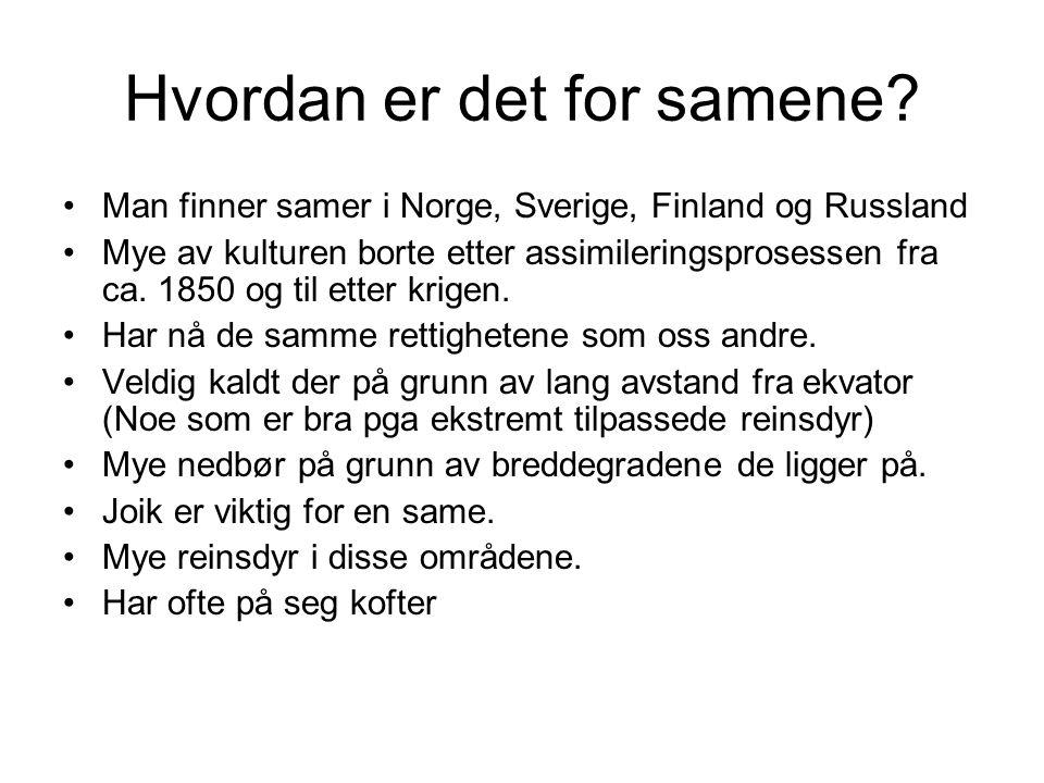 Hvordan er det for samene? •Man finner samer i Norge, Sverige, Finland og Russland •Mye av kulturen borte etter assimileringsprosessen fra ca. 1850 og