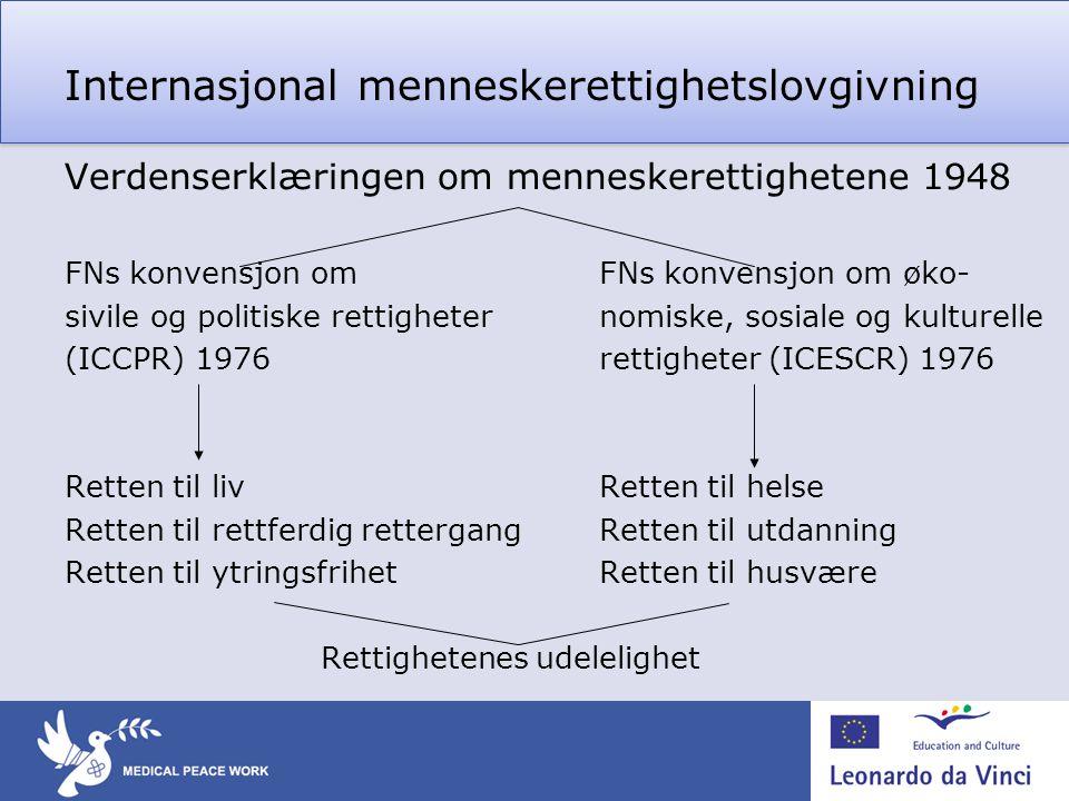 Verdenserklæringen om menneskerettighetene 1948 FNs konvensjon om FNs konvensjon om øko- sivile og politiske rettigheternomiske, sosiale og kulturelle (ICCPR) 1976rettigheter (ICESCR) 1976 Retten til livRetten til helse Retten til rettferdig rettergangRetten til utdanning Retten til ytringsfrihetRetten til husvære Rettighetenes udelelighet Internasjonal menneskerettighetslovgivning
