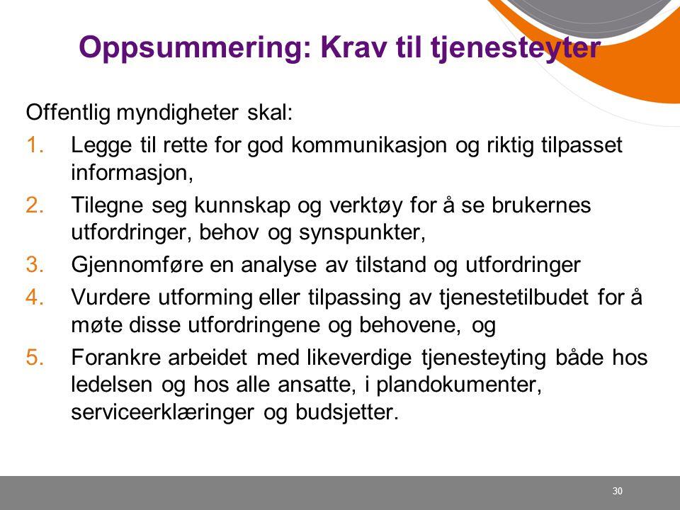 Oppsummering: Krav til tjenesteyter Offentlig myndigheter skal: 1.Legge til rette for god kommunikasjon og riktig tilpasset informasjon, 2.Tilegne seg