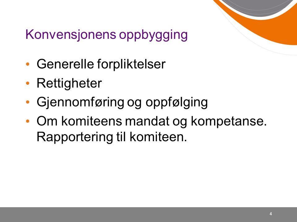 Konvensjonens oppbygging • Generelle forpliktelser • Rettigheter • Gjennomføring og oppfølging • Om komiteens mandat og kompetanse. Rapportering til k