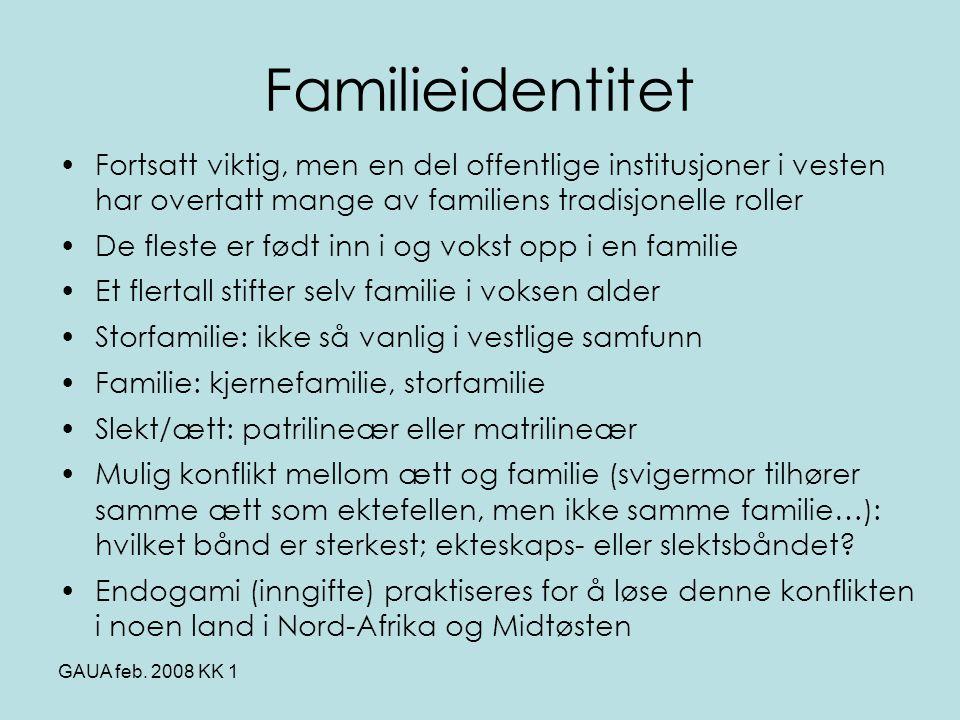 GAUA feb. 2008 KK 1 Familieidentitet •Fortsatt viktig, men en del offentlige institusjoner i vesten har overtatt mange av familiens tradisjonelle roll