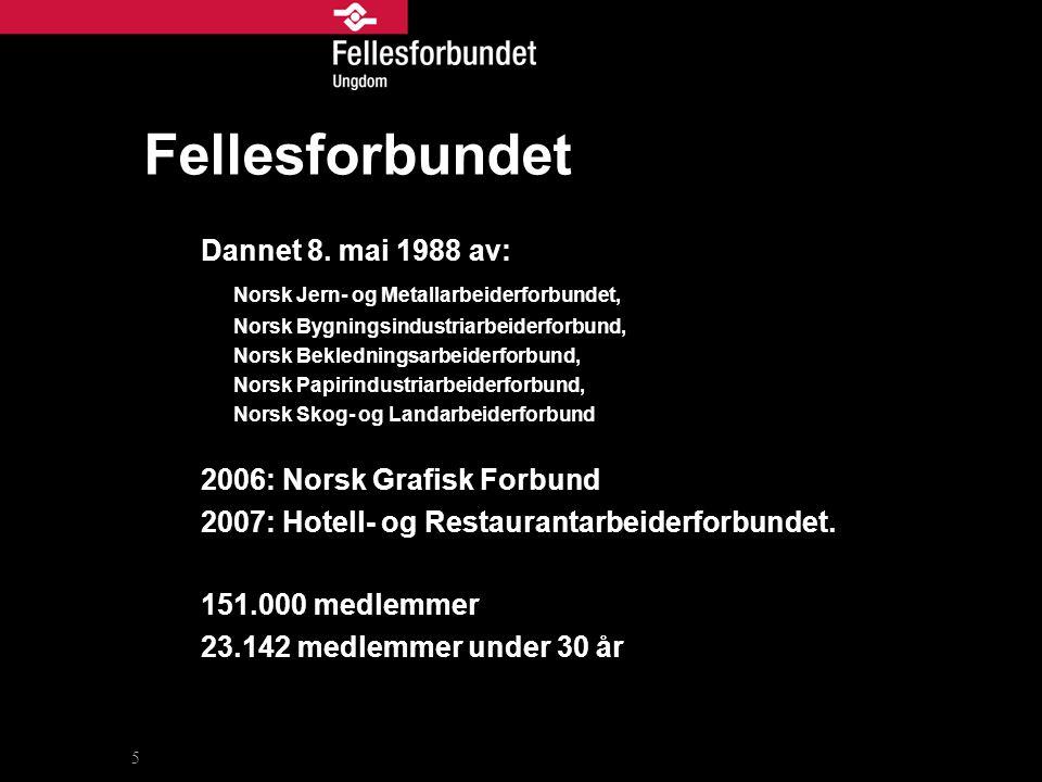 Fellesforbundet Dannet 8. mai 1988 av: Norsk Jern- og Metallarbeiderforbundet, Norsk Bygningsindustriarbeiderforbund, Norsk Bekledningsarbeiderforbund
