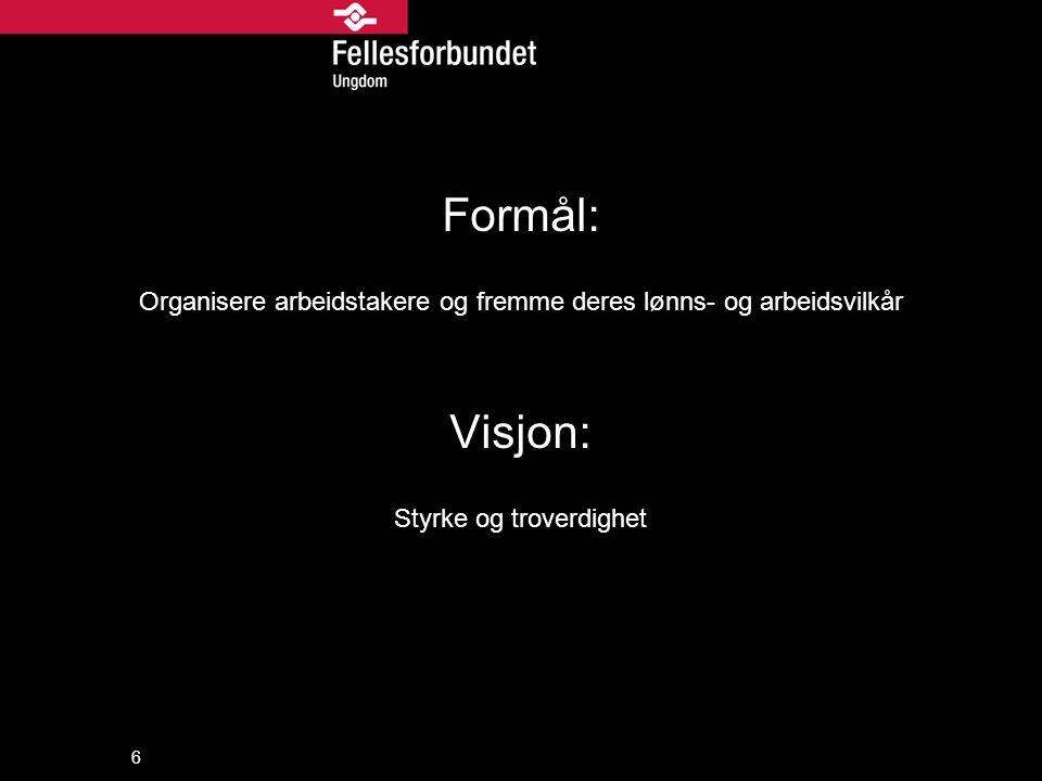 Formål: Organisere arbeidstakere og fremme deres lønns- og arbeidsvilkår Visjon: Styrke og troverdighet 6