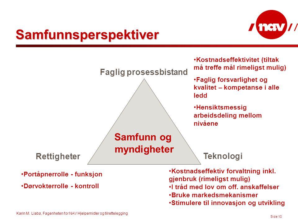 Karin M. Liabø, Fagenheten for NAV Hjelpemidler og tilrettelegging Side 10 Samfunnsperspektiver Samfunn og myndigheter Faglig prosessbistand Teknologi