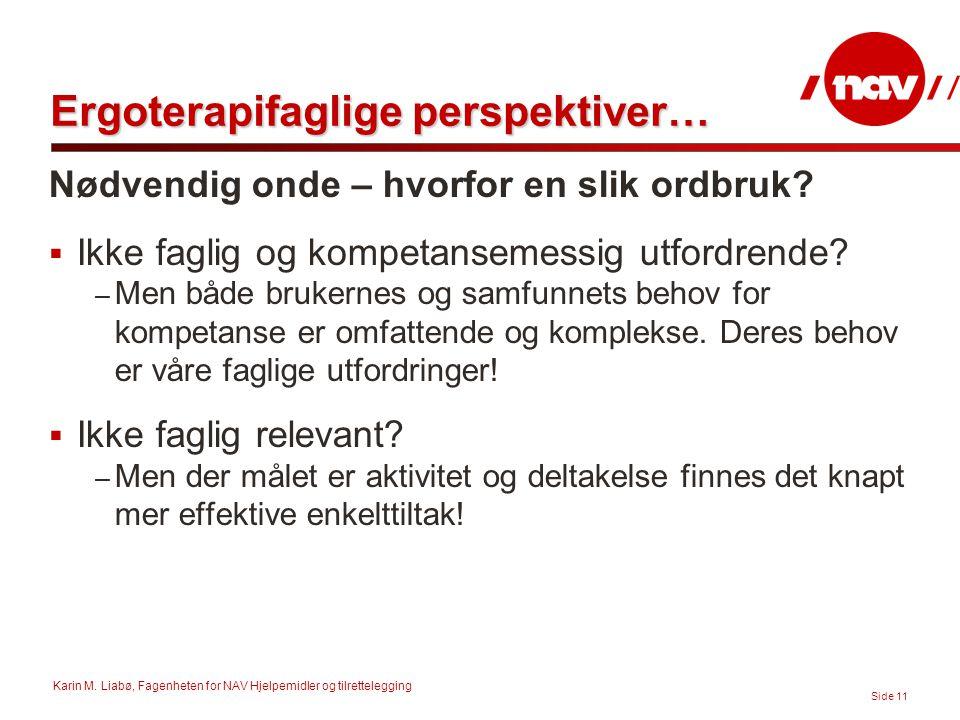 Karin M. Liabø, Fagenheten for NAV Hjelpemidler og tilrettelegging Side 11 Ergoterapifaglige perspektiver… Nødvendig onde – hvorfor en slik ordbruk? 