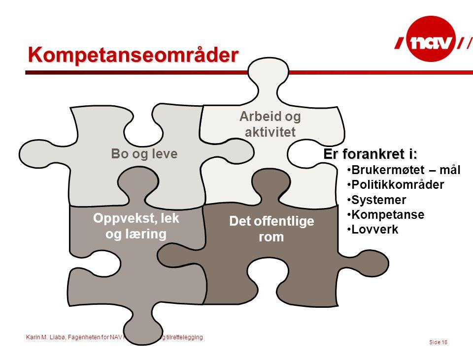 Karin M. Liabø, Fagenheten for NAV Hjelpemidler og tilrettelegging Side 16 Kompetanseområder Bo og leve Oppvekst, lek og læring Arbeid og aktivitet De