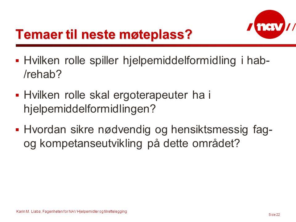 Karin M. Liabø, Fagenheten for NAV Hjelpemidler og tilrettelegging Side 22 Temaer til neste møteplass?  Hvilken rolle spiller hjelpemiddelformidling