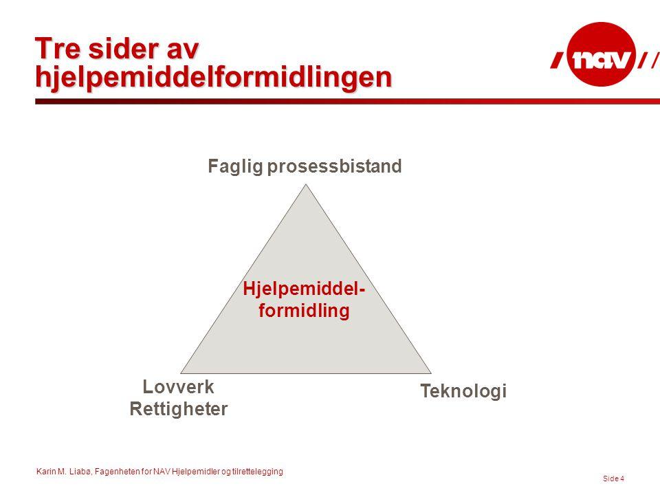 Karin M. Liabø, Fagenheten for NAV Hjelpemidler og tilrettelegging Side 4 Tre sider av hjelpemiddelformidlingen Faglig prosessbistand Teknologi Lovver
