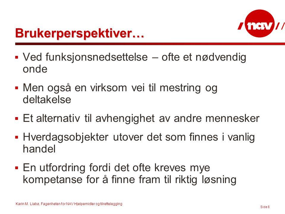 Karin M. Liabø, Fagenheten for NAV Hjelpemidler og tilrettelegging Side 6 Brukerperspektiver…  Ved funksjonsnedsettelse – ofte et nødvendig onde  Me