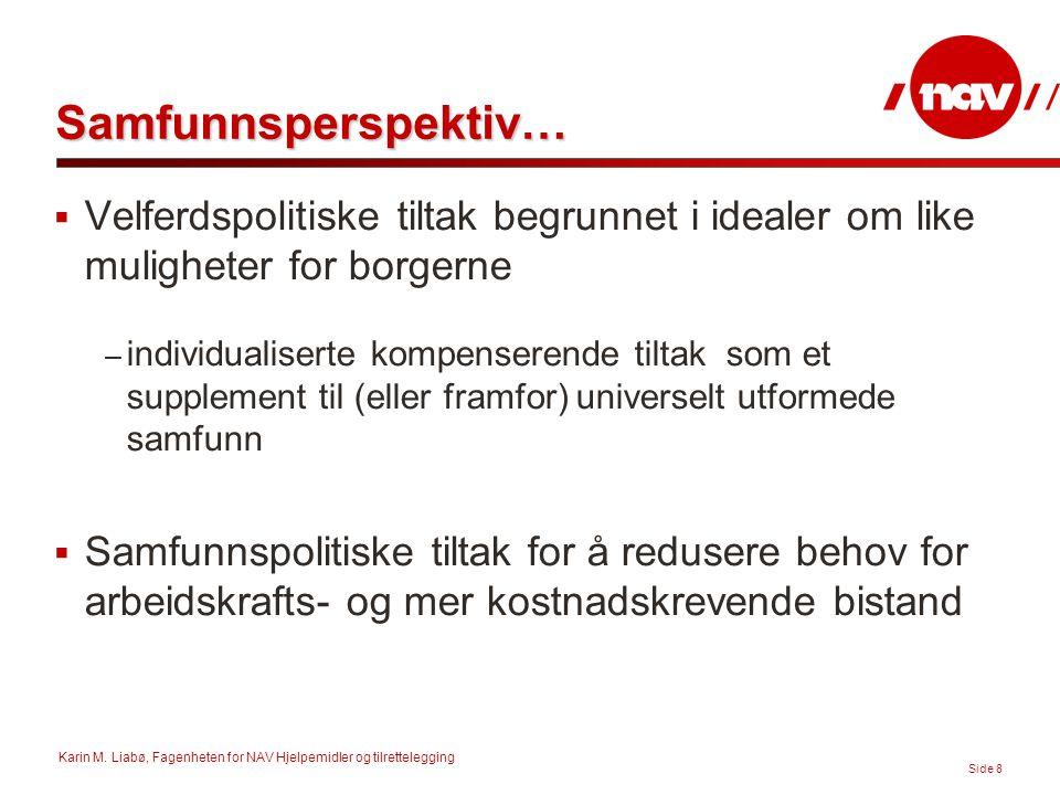 Karin M. Liabø, Fagenheten for NAV Hjelpemidler og tilrettelegging Side 8 Samfunnsperspektiv…  Velferdspolitiske tiltak begrunnet i idealer om like m