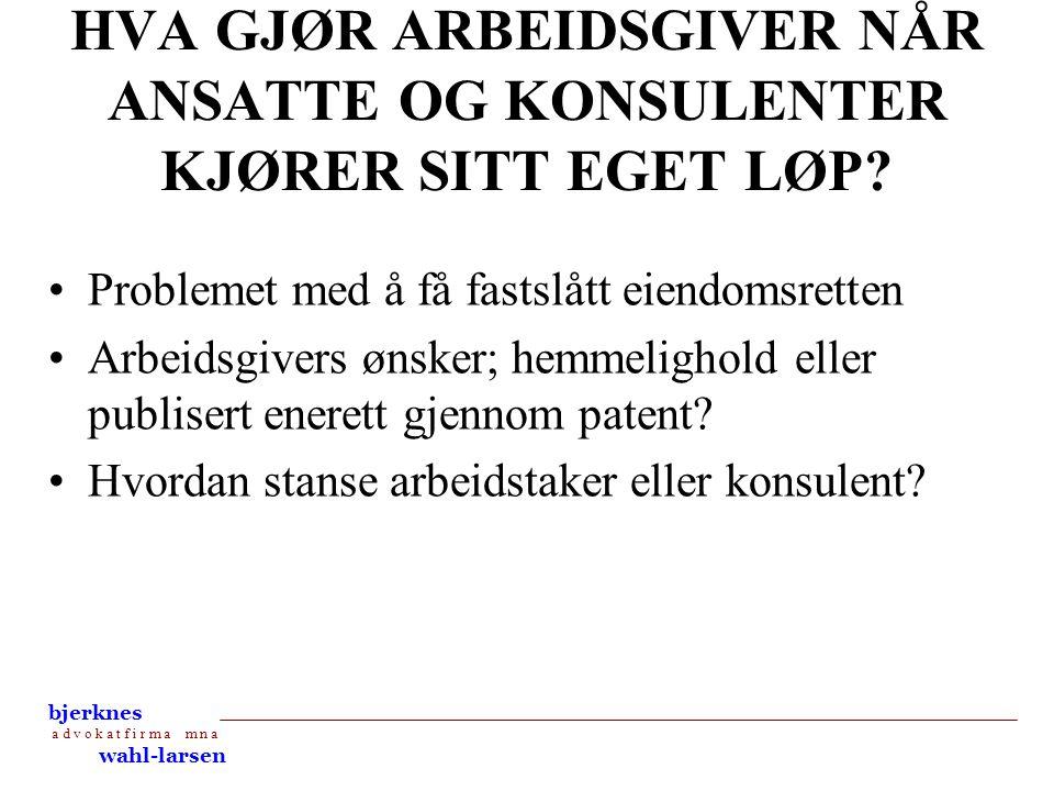 bjerknes a d v o k a t f i r m a m n a wahl-larsen OPPSUMMERING •Avtaler med ansatte og konsulenter •Rutiner •Vær ute i tide Bjerknes Wahl-Larsen AS Kronprinsensgt.
