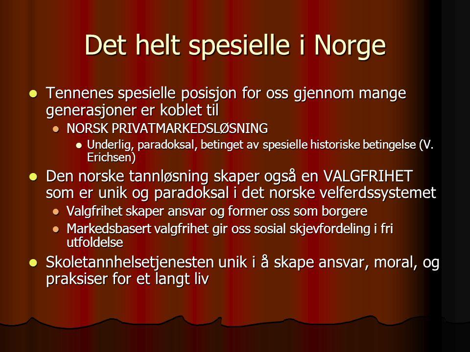 Det helt spesielle i Norge  Tennenes spesielle posisjon for oss gjennom mange generasjoner er koblet til  NORSK PRIVATMARKEDSLØSNING  Underlig, paradoksal, betinget av spesielle historiske betingelse (V.
