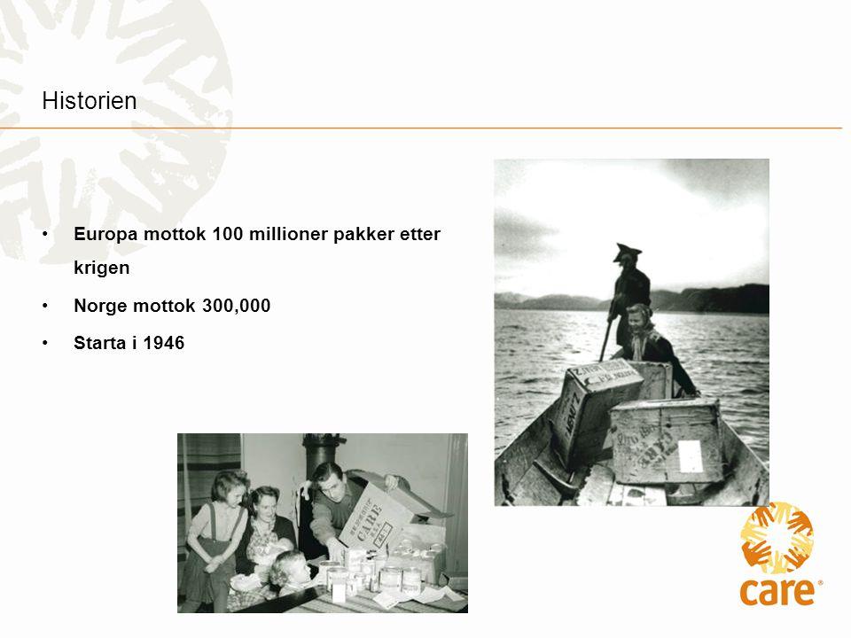 Historien •Europa mottok 100 millioner pakker etter krigen •Norge mottok 300,000 •Starta i 1946