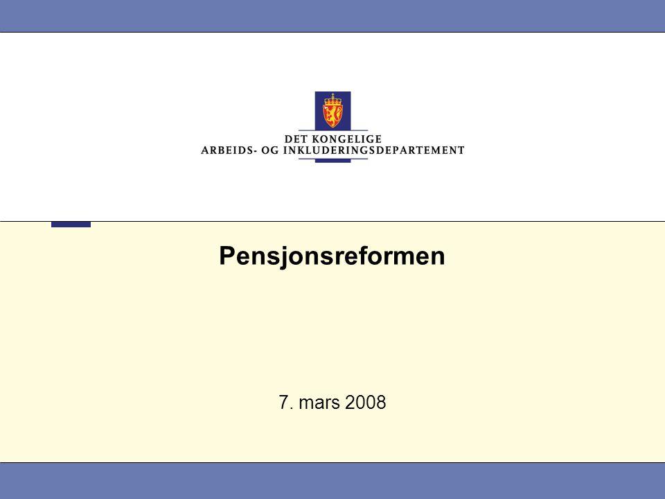 2 Det kongelige arbeids- og inkluderingsdepartement Hovedelementene i pensjonsreformen •Opptjening •Fleksibelt uttak •Levealdersjustering •Regulering