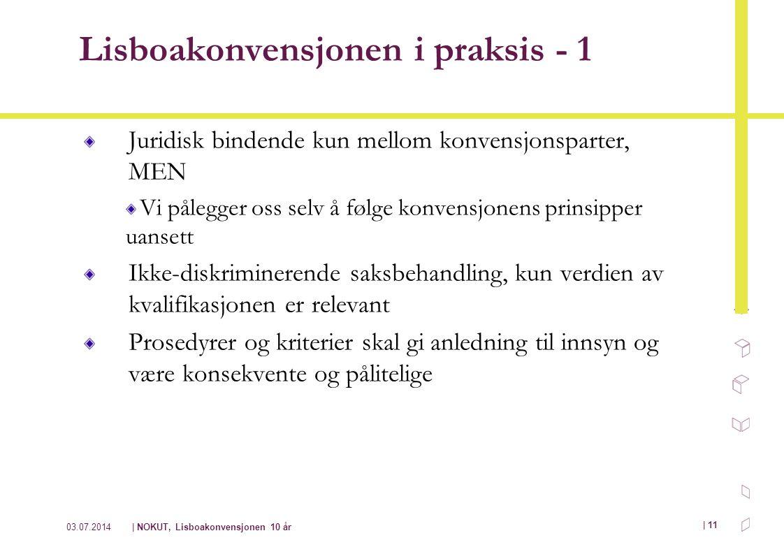 03.07.2014| NOKUT, Lisboakonvensjonen 10 år | 11 Lisboakonvensjonen i praksis - 1 Juridisk bindende kun mellom konvensjonsparter, MEN Vi pålegger oss