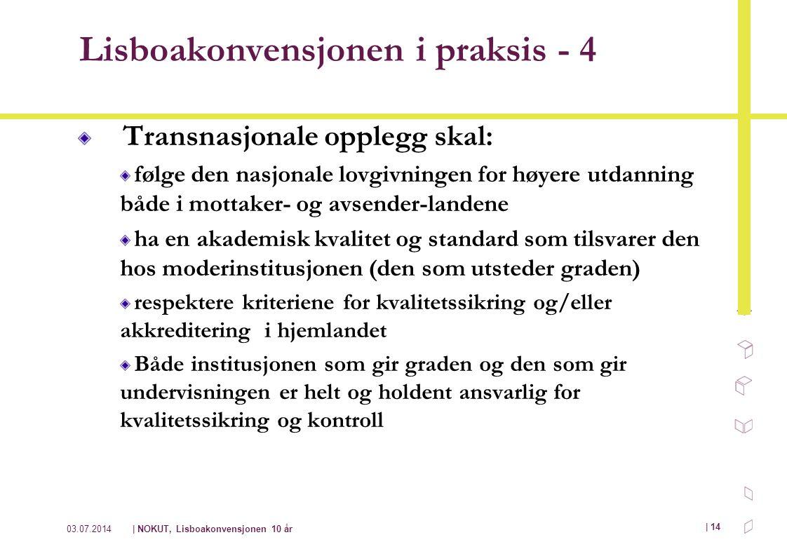 03.07.2014| NOKUT, Lisboakonvensjonen 10 år | 14 Lisboakonvensjonen i praksis - 4 Transnasjonale opplegg skal: følge den nasjonale lovgivningen for hø