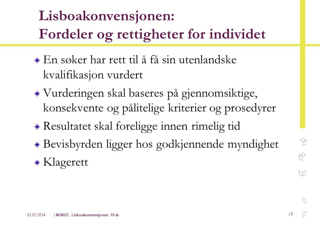 03.07.2014| NOKUT, Lisboakonvensjonen 10 år | 7 Lisboakonvensjonen: Fordeler og rettigheter for individet En søker har rett til å få sin utenlandske k