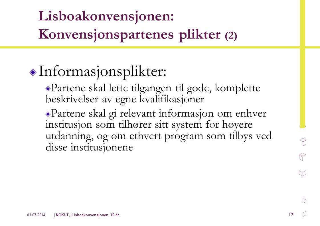 03.07.2014| NOKUT, Lisboakonvensjonen 10 år | 9 Lisboakonvensjonen: Konvensjonspartenes plikter (2) Informasjonsplikter: Partene skal lette tilgangen