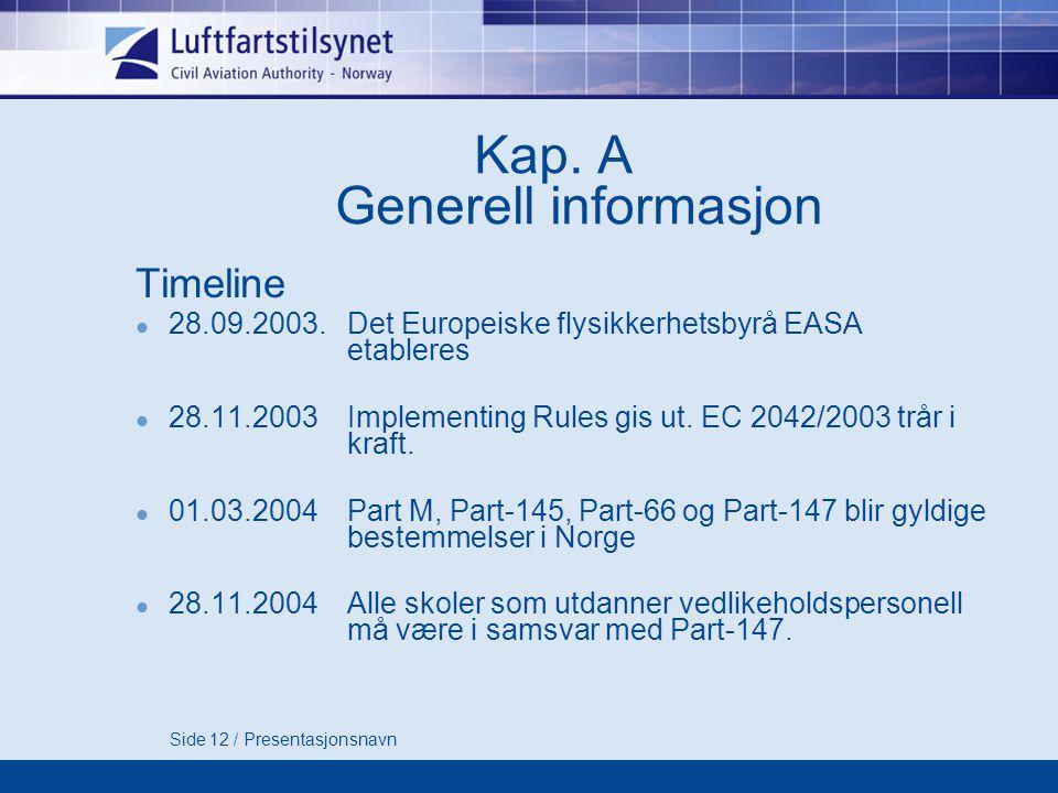 Side 12 / Presentasjonsnavn Kap.